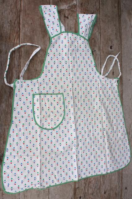 vintage apron lot, kitchen aprons all retro fabric, pretty prints in aqua blue, lavender purple