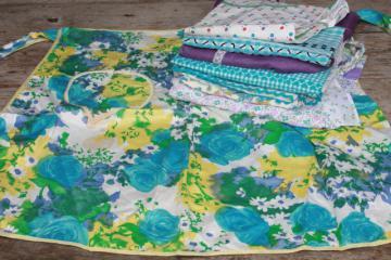 vintage apron lot, kitchen aprons all retro fabric, pretty prints in aqua blue, lavender purple