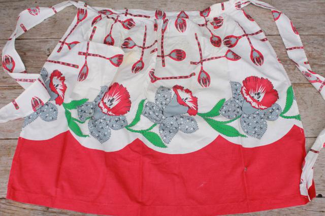 vintage apron lot of 12 kitchen aprons, retro fabric, pretty colors & prints