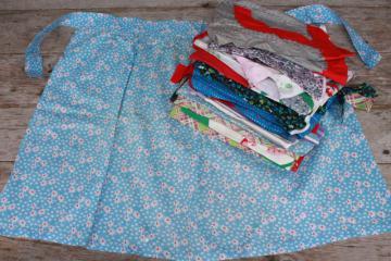 vintage apron lot of 12 kitchen aprons, retro fabric, pretty colors & prints