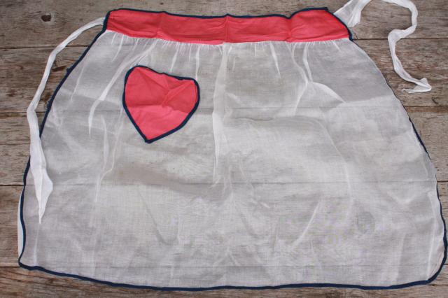 vintage apron lot, pretty pink, blue prints, red hearts kitchen aprons