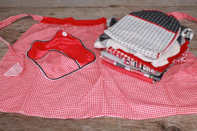 vintage apron lot, red & black kitchen aprons all retro fabric, pretty prints