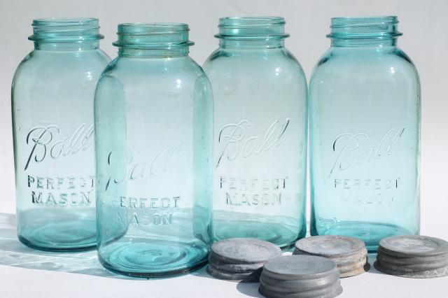 vintage aqua blue glass Ball Perfect Mason jars, big two quart size canning jar kitchen canisters
