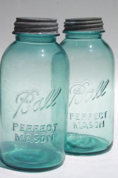 vintage aqua blue glass Ball Perfect Mason jars, big two quart size canning jar kitchen canisters