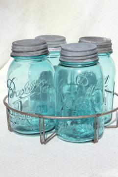 vintage aqua blue glass canning jars in old wire rack, Ball Mason jars w/ zinc lids