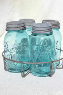 vintage aqua blue glass canning jars in old wire rack, Ball Mason jars w/ zinc lids