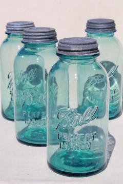 vintage aqua blue green glass canning jars, large  Ball mason fruit jars