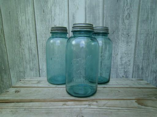 Vintage Aqua Blue Green Glass Canning Jars Large Ball