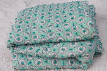 vintage aqua print cotton covered comforter, puffy duvet hand tied whole cloth quilt