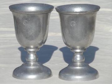 vintage armetale style pewter goblets or chalice set w/ hallmark or crest