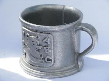 vintage armetale type metal baby mug, Carson - Freeport pewter