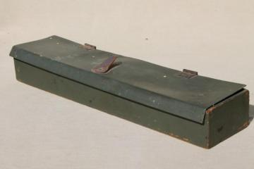 vintage army green drab wood box w/ soft cover, surveyors tool or instrument case