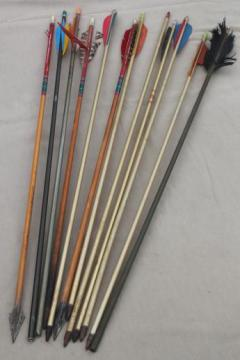 vintage arrows, assorted old   wood & metal arrows archery equipment rustic cabin  decor