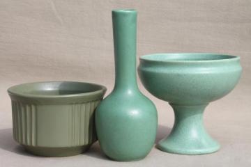 vintage art deco matte green pottery planters & vases, McCoy floraline etc.