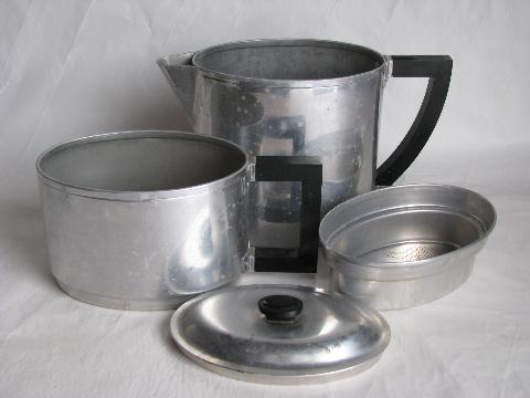 vintage art deco shape oval coffee pot drip-o-lator, Wear-Ever aluminum, patent date 1930