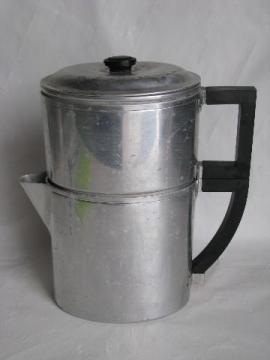 vintage art deco shape oval coffee pot drip-o-lator, Wear-Ever aluminum, patent date 1930