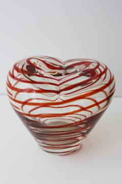 vintage art glass heart shaped vase, Valentine heart crystal clear glass w/ red