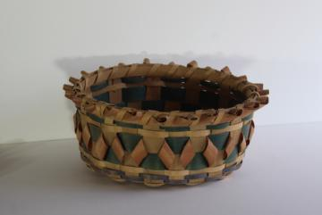 vintage ash curls hand woven basket, Winnebago style ash points basket from Wisconsin