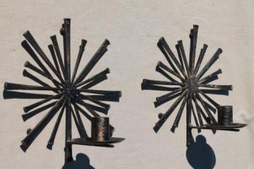 vintage atomic starburst wall sconces, rustic mod metal horseshoe nail candle holders