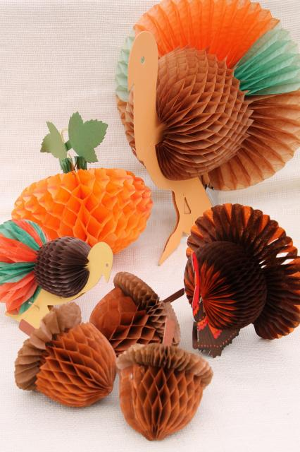 vintage autumn fall decorations, honeycomb tissue paper acorns, pumpkin, Thanksgiving turkeys