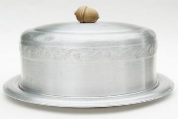 vintage autumn oak leaf & acorn pattern aluminum cake keeper cover & plate