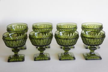 vintage avocado green glass Mt Vernon stemware, champagne or sparkling wine glasses