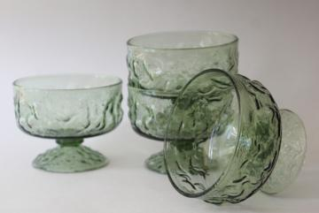 vintage avocado green glass sherbets, crinkle textured Lido Milano Anchor Hocking glassware