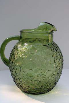 vintage avocado green glassware, Anchor Hocking Milano crinkle textured glass pitcher