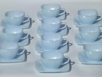 vintage azurite blue glass Fire King charm pattern square cups & saucers