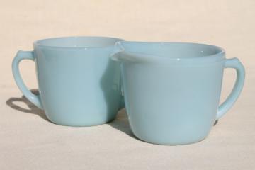 vintage azurite milk glass cream & sugar set w/ Turquoise Blue Anchorglass labels