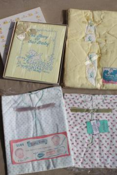 vintage babies layette gift set, unused cotton kimono infant gowns & baby record book