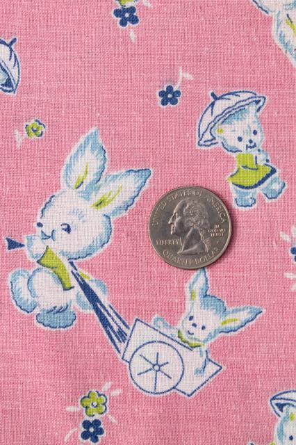 Vintage Baby Animals Print Cotton Feed Sack Fabric