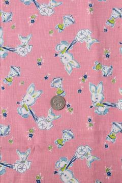 vintage baby animals print cotton feed sack fabric, bunnies w/ toy wagons, parasol umbrellas