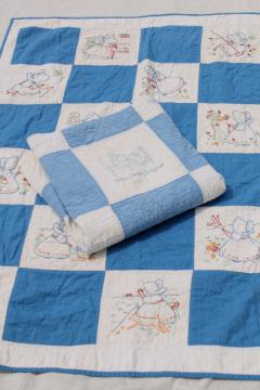 vintage baby crib quilts w/ hand stitched embroidered blocks, sunbonnet girl & children