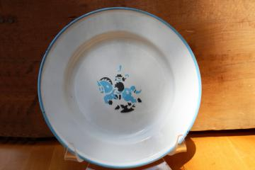 vintage baby dish from Sweden, blue & white enamelware tin child's plate