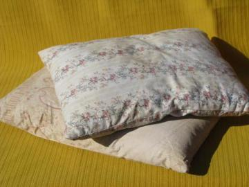 vintage baby size feather pillows, 1920s flowered cotton fabric covers