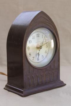 vintage bakelite cathedral mantel clock, 30s clock w/ bakelite gothic arch case for restoration