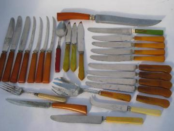 vintage bakelite flatware lot, red / green / yellow catalin handles