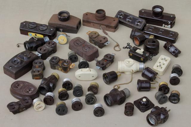 vintage bakelite hardware lot antique electrical outlets switches industrial salvage old stock Laurel Leaf Farm item no z32628 1 vintage & deadstock electrical parts etc old fuse box parts at gsmportal.co