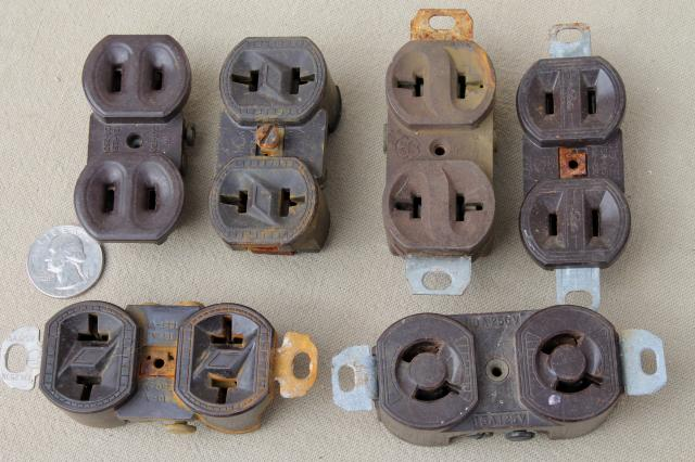 vintage bakelite hardware lot, antique electrical outlets & switches, industrial salvage & old stock