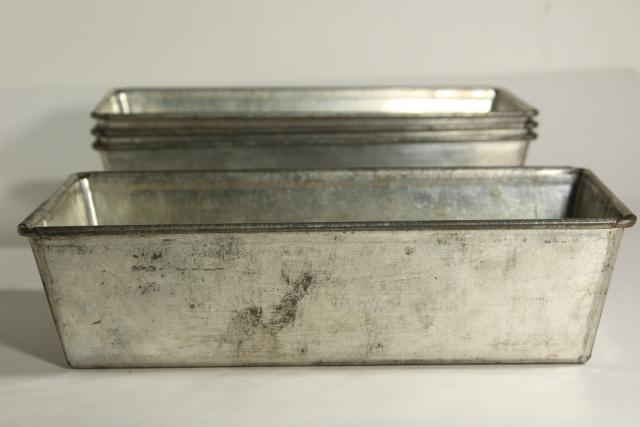 vintage bakery bread pan lot, heavy tinned steel loaf pans w/ rolled edges