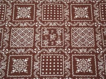vintage bandana print cotton fabric, brown & white broadcloth hippie / prairie style