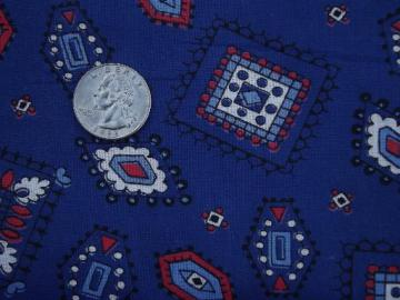 vintage bandana print cotton fabric, red and white on navy blue 36 wide