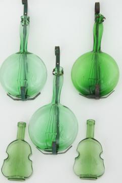 vintage banjo & violin bottles, old green glass figural bottle collection