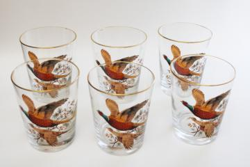vintage bar glasses, pheasants game birds large lowball tumblers, set of double old fashioneds