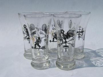 vintage bar glasses, vintage Libbey folk art rooster weather vane / indian pattern