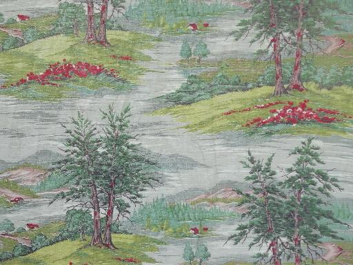 vintage barkcloth fabric lot of old curtains, shabby floral & farm scenes