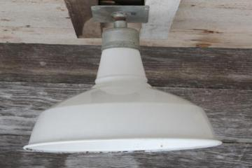 vintage barn light w/  porcelain enamel shade, Appleton industrial lighting