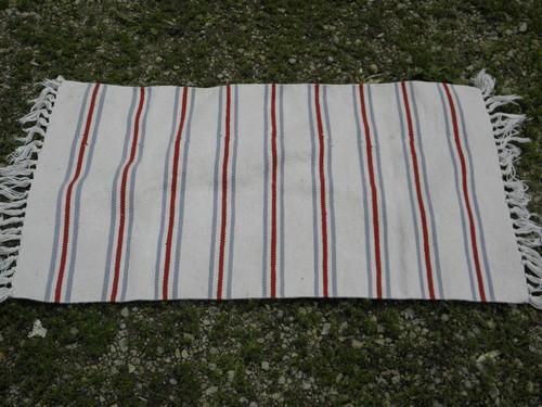 Vintage Barn Red Indigo Blue Woven Stripe Fringed Cotton