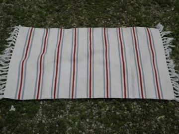 vintage barn red / indigo blue woven stripe fringed cotton throw rug